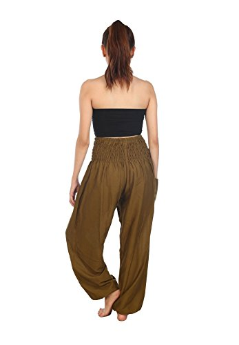 Lofbaz Donna Smocked Waist Boho Harem Pantaloni Solid 1 Verde Scuro