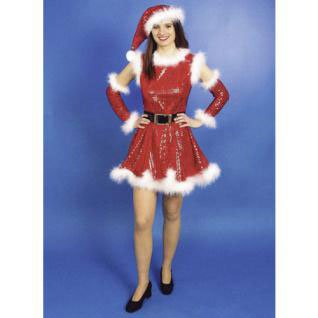 Karneval Klamotten Weihnachtsfrau Miss Santa Damen Nikolaus-Kostüm Kleid inkl. Armstulpen + Weihnachtsmütze Größe (Für Santa Kostüme Frauen)