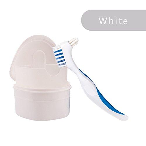WAOBE Zahnersatz Dental Container + Bürste - Kieferorthopädische Koffer Zahnprothese Bad Box Zahnschutz Lagerbehälter Hygienisch für die Speicherung von Sport Dental Appliances , White