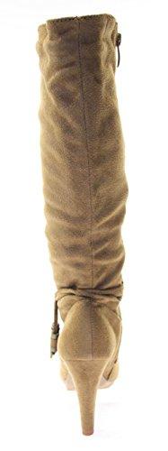 Bottes chaussures pour femme marron avec inserts fermeture éclair (daim) Marron - Marron
