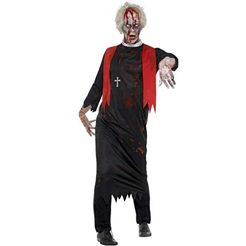 Komisch Kostüm Männliche - Klassische Halloween Paar Mönch Kostüm Ghost Festival Dress Up Kleid Robe Cosplay Party Männlichen Pastor Nonne Zombie Kostüm (Color : Man Black, Size : XL)