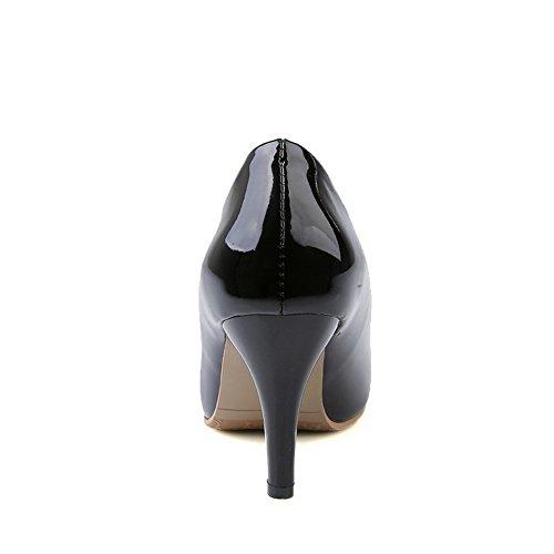 AgooLar Femme Pu Cuir Couleur Unie Tire Pointu à Talon Haut Chaussures Légeres Noir