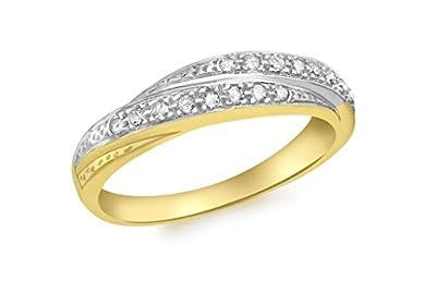 9ct Gelb Gold Feste Russischer Stil Diamant Ring