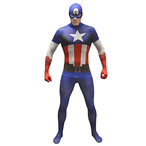 en-Kapitän America Grund Morphsuit ausgefallene Kleid Kostüm Halloween-Outfit UK Capt Premium Party braucht (Mittel) ()