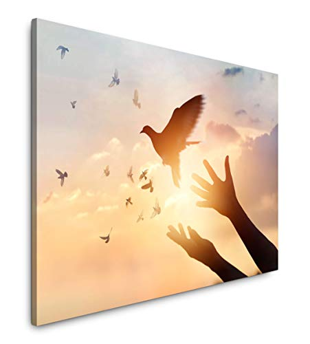 Paul Sinus Art Frau und Vögel 180 x 120 cm Inspirierende Fotokunst in Museums-Qualität für Ihr Zuhause als Wandbild auf Leinwand in XXL Format -