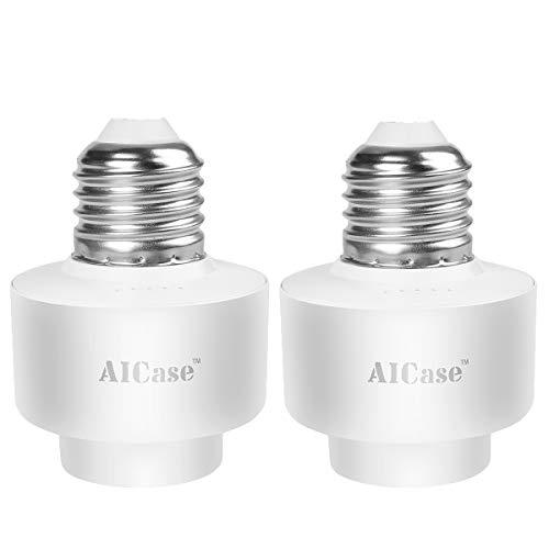 AICase Intelligente Steckdose TE27 Wi-Fi Smart Lampenfassung E26/E27, Fassung-Adapter geeignet für LED, Halogen, Glühbirnen und Energiesparlampen,Kompatibel mit Amazon Alexa und Google Home, Weiß