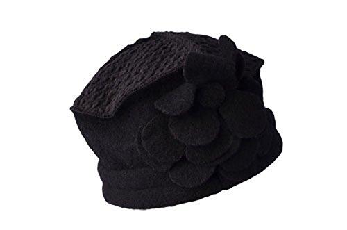 QPALZM Mme Automne Et L'hiver En Pure Laine Chapeau L'Europe Casual Chapeau De Laine Chaude Black