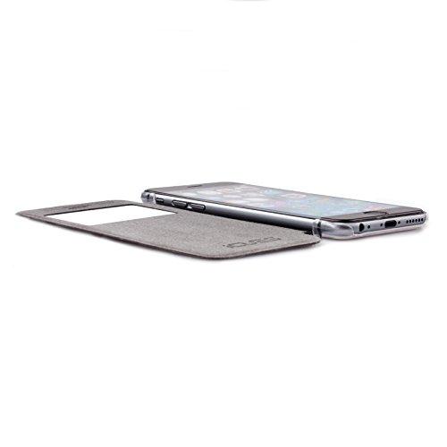 Apple iPhone 6S / 6 (4.7 Zoll) | iCues Poblano Tasche Bouquet Schwarz | Sichtfenster Fenster Extra Leicht sehr Dünn Transparent Klarsichthülle Durchsichtig Klare Klarsicht Leder - Imitat Book Klapphül Peacock Schwarz