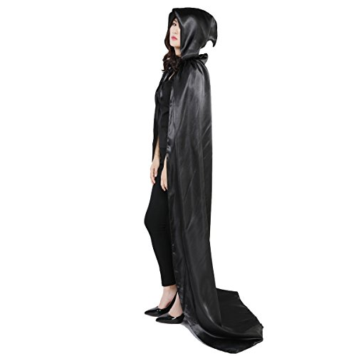 Damen Herren Halloween Umhang Karneval Fasching Kostüm Cape mit Kapuze Schwarz - 8