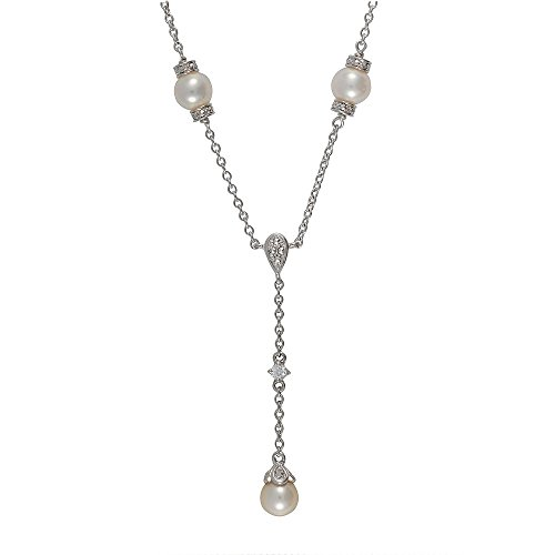 Esse Marcasite Ohrhänger Sterling Silber rhodiniert Chinesische Süßwasserperle und Markasit Y Halskette von 38-42cm