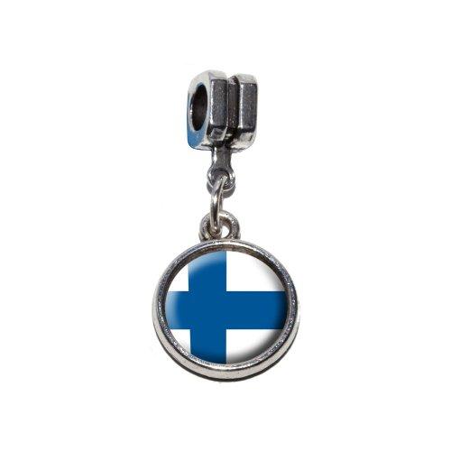 Finnland Finnische Flagge Italienische europäischen Euro-Stil Armband Charm Bead–für Pandora, Biagi, Troll,, Chamilla,, andere