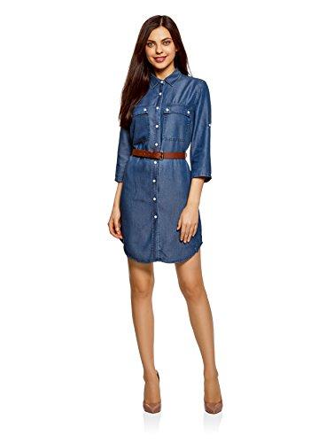 Oodji ultra donna abito camicia in jeans con taschini, blu, it 42 / eu 38 / s