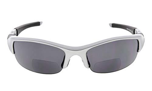 Eyekepper TR90Halbkugelförmige polarisierte Bifokale Sonnenbrillen Baseball Laufen Angeln Fahren Golf Softball Wandern Lesung Brillen Silber Rahmen Graue Linse +3.0