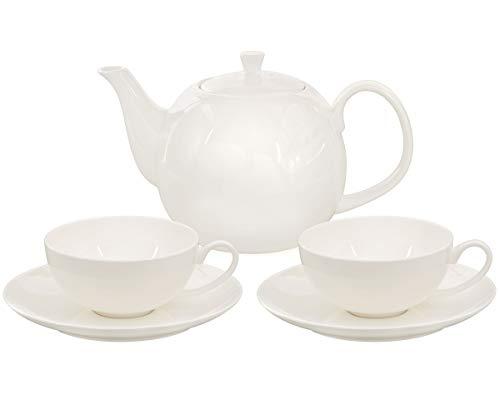 Fine Bone China (Buchensee Teeservice aus Fine Bone China Porzellan. Teekanne in fein-cremigem Weiß mit 1,5l Füllvolumen, 2 Teetassen und 2 Unterteller.)
