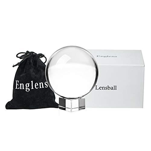 """tensphy k9 palla di cristallo con supporto 80 mm / 3,15 pollici decorazioni artistiche chiare k9 prop di cristallo per fotografia decorazione (3.15""""/ 8 cm)"""