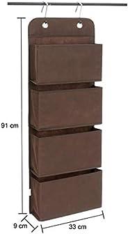Amazon Brand - Solimo Fabric Hanging Shelf Organiser, Brown