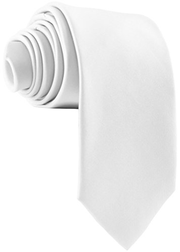 ADAMANT Designer Krawatte, breit, verschiedene Farben - TOPQUALITÄT - Moderne uni Krawatten für Business und Alltag - Weiß
