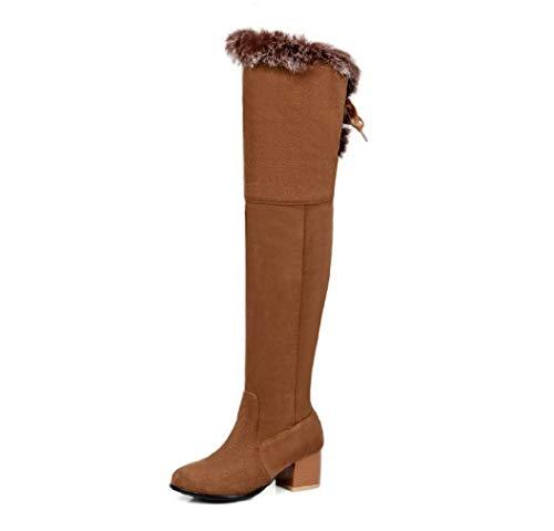 SHANGWU Damen Overknee-Stiefel Damen Schneeschuhe Vliese Kniehohe Stiefel Warme Rutschfeste weibliche Schuhe Große Riemen Neue Runde Kopfstiefel (Farbe : Braun, Größe : 43)