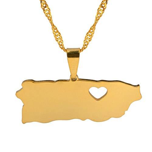 NSXLSCL Halsketten Für Frauen,Mode Puerto Rico Mit Tag Geschenk Herz Karte Anhänger Halsketten Gold Farbe Pr Puerto Ricaner Schmuck des Giftsfor Mutter