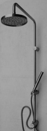 Inox douche Système de tête et la tige de douche à main brossé solide