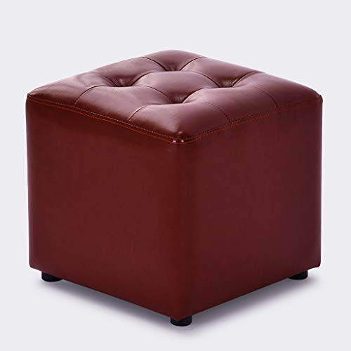 CXQ Moderne Kreative Hocker Home Wohnzimmer Mode Massivholz Leder Platz Hocker Sofa Hocker Ändern Schuh Bank Dressing Hocker (Color : Red) - Leder-sofa Platz