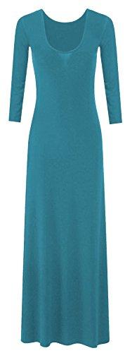 Neue Frauen Plus Size Plain Lange Jersey Scoop Neck Maxikleid 36-54 Teal