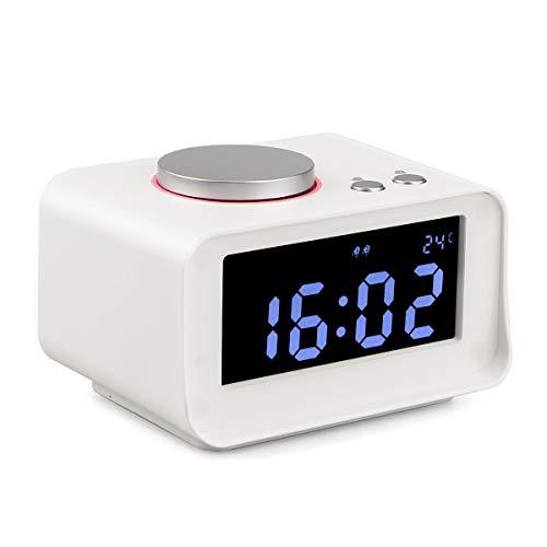 Tivdio K1 Dual Wecker FM Digital Stereo Radio Nachttisch Unterstützung Snooze Funktion Indoor Temperatur LCD Display Level 5 Helligkeit Dual USB Ladeanschluss Ideal für Kinder über 6 Jahre alt (weiß)