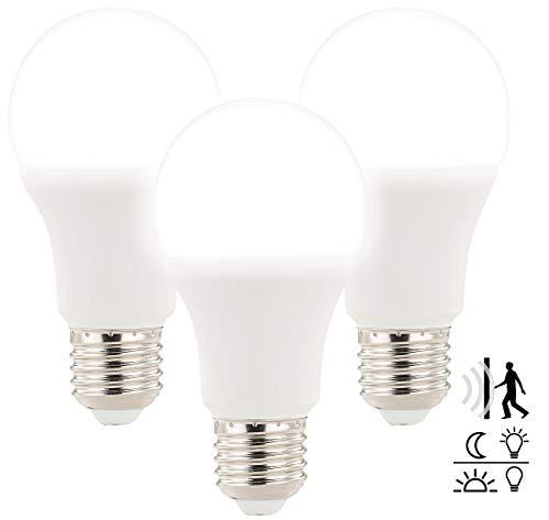 Luminea Leuchtmittel LED: 3 LED-Lampen mit Radar-Bewegungs- & Lichtsensor, 12 W, E27, TW (LED Lampen mit Bewegungsmelder)