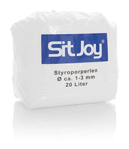 Sitjoy Sitzsack-Füllung | Styropor-Perlen [Ø ca. 1-3 mm] | 20 Liter | Nachfüllbeutel - EPS Styropor-Kugeln und Kügelchen für Kissen