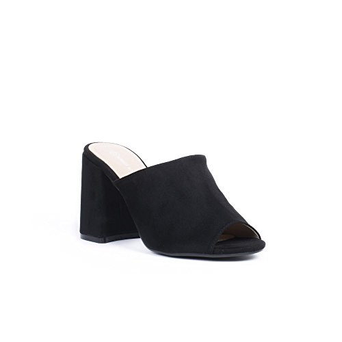 Ideal Shoes Mules à Talon Carré Effet Daim talya Noir