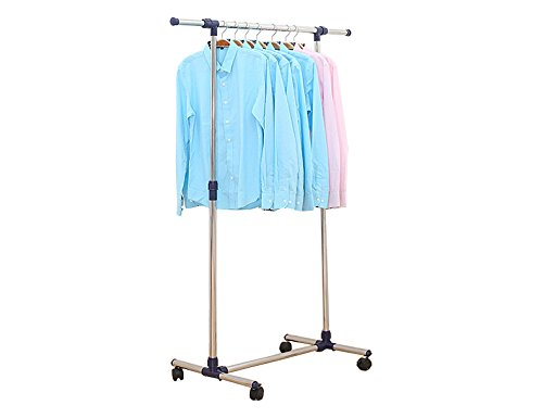 Kleiderständer, Kleiderstange, Garderobenständer mit Rollen Höhenverstellbar (Klein)
