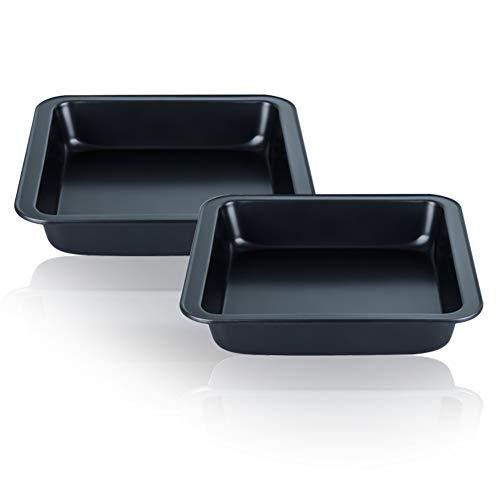 CENZ Antihaftbeschichtete quadratische Kuchenformen-Set, Karbonstahl, für Kuchen, Brownies und Kekse, 20 cm, 2 Packungen Square-quiche