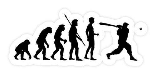 shirt-o-magic Aufkleber Baseball: Evolution Baseballspieler - Sticker - 5x5cm - Weiß
