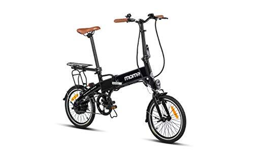 Moma Bikes E16teen + portabultos Bicicleta Electrica, Plegable, Urbana, Bat. Ion Litio 36V 9Ah, Negro, Unic Size