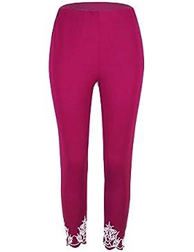 Mujer Pantalones Deporte Leggings Adelgazante Gym con Malla Pantalone Elásticos Malla Fitness Morado Rojo 3XL