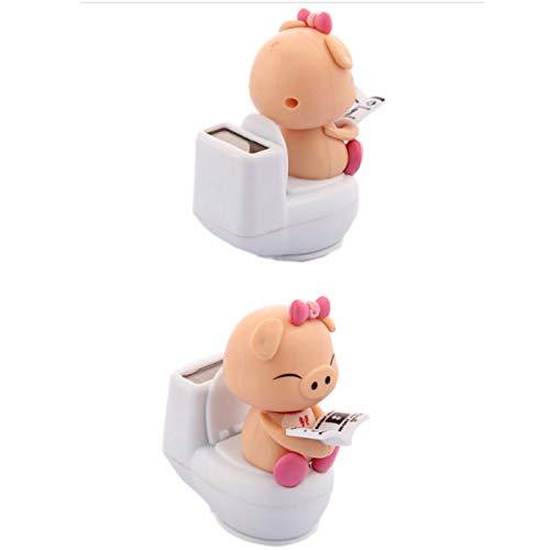 in Schlüsselring, Solar Toilette Schwein Auto Ornamente Auto Decor Dekoration Solar Spielzeug Stress Relief Spielzeug ()
