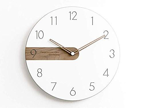 Xifande Reloj De Pared Minimalista Moderno Arte Nórdico Creativo Personalidad De Madera Reloj De Cuarzo Mudo Sala De Estar Hogar Dormitorio 12 Pulgadas Reloj
