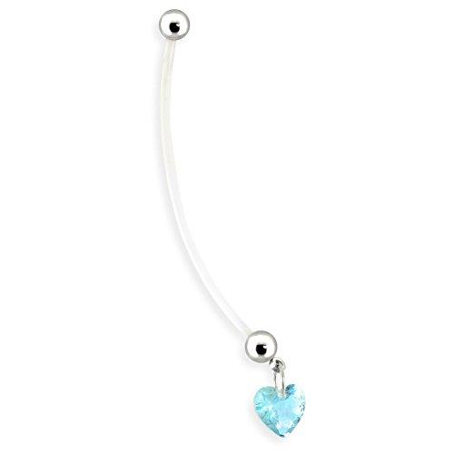 Belly Schwangerschaft Button Ringe (Bioflex Schwangerschaft Navel Ring mit Herz Baumeln)
