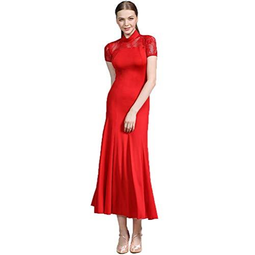 Rote Trikot Kostüm - Kurzarm Modern Dance Kleid Social Dance