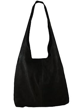 Damen Ledertasche Shopper Wildleder Handtasche Schultertasche Beuteltasche Metallic look