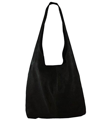 Freyday Damen Ledertasche Shopper Wildleder Handtasche Schultertasche Beuteltasche Metallic look (Schwarz) -