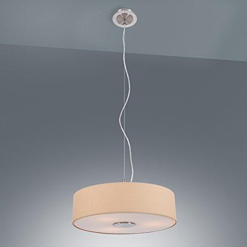 Moderne Pendelleuchte | Stoffschirm der Leuchte in Beige | Hängeleuchte Ø 45cm | 3 flammige...