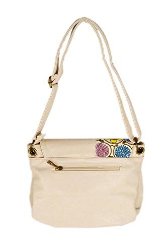 The fashion Bags , Damen Schultertasche schwarz schwarz beige