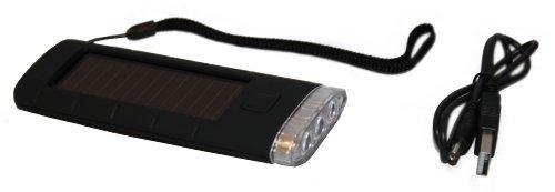 Idena 407226 Lampe de poche solaire 3 LED + câble USB Noir