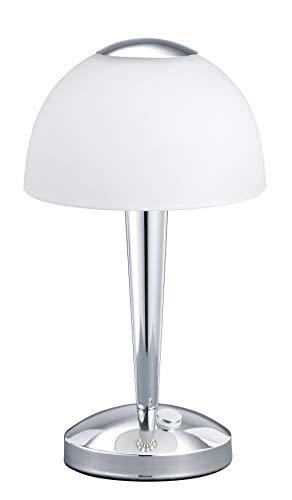 Trio Leuchten LED-Tischleuchte in Chrom, Glas weiß satiniert, Touche-Dimmer mit 3 Helligkeitsstufen, inklusive 1 x 5W LED, Höhe - 28 cm 529990106 - Lampe Moderne Tischlampe