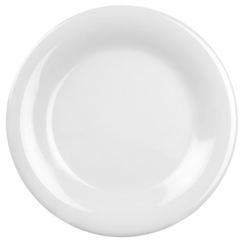 Excellanté White Melamine Collection 10-1/2-Inch Wide Rim Round Plate, White, 12-Piece by Excellant 12 Wide Rim Plate