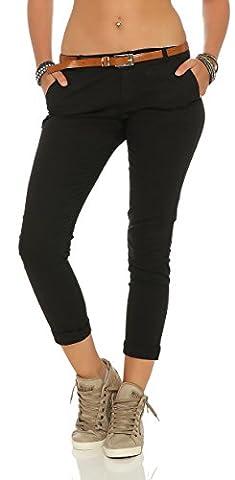 ZARMEXX Damen Stretch Röhrenhose mit Gürtel Chino Skinny Stoffhose Jeggings, Schwarz, Gr. M (38)