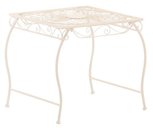 Table de jardin en fer coloris blanc - 46 x 49 x 45 cm -PEGANE-