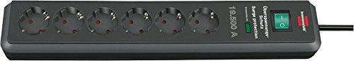 3er Pack Brennenstuhl Secure-Tec Überspannungsschutz-Steckdosenleiste 6-fach anthrazit mit Schalter, 1159540366