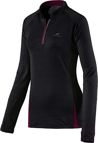 Pro Touch Damen Elastic Riola II Longsleeve T-Shirt, Schwarz/Beet Red, 36 -